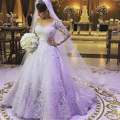 Plus Size Long Sleeve Wedding Ball Gown Dresses V neck Lace Bride Bridal  Gowns | eBay
