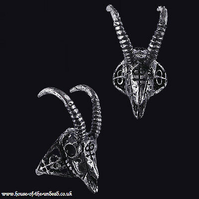 RESTYLE GAZELLE SKULL SILVER 17MM RING. Antlers. Animal Skull. Gothic. OCCULT.