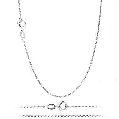 Italian .925 Sterling Silver 1mm Box Chain Necklace TARNISH-FREE RHODIUM PLATED