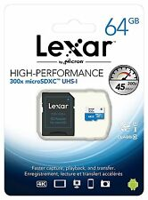 Lexar 64GB Micro SD SDXC 300x UHS-1 High Performance Memory Card with Adapter