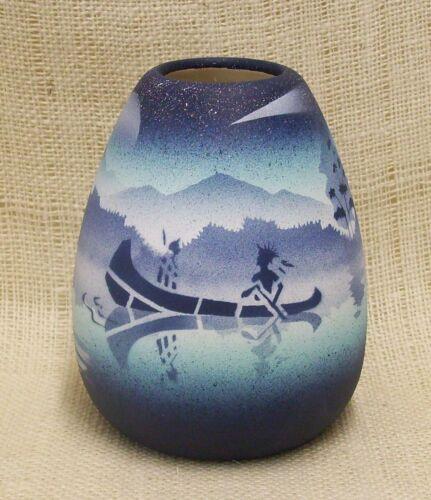 Painted Navajo Pottery Native Dream Blue Vase Cedar Mesa Native American Made
