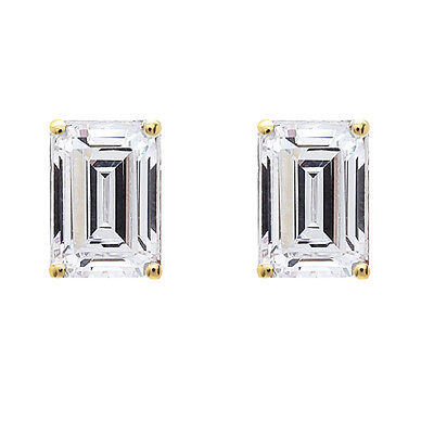 1.00 tcw Emerald Cut Solitaire Stud Earrings 14k Yellow Gold Screw Back VVS/D