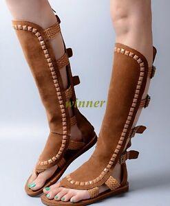 Women s Knee High Roman Gladiator Sandals Flat Long Boots Lace Up ... a85055d96a