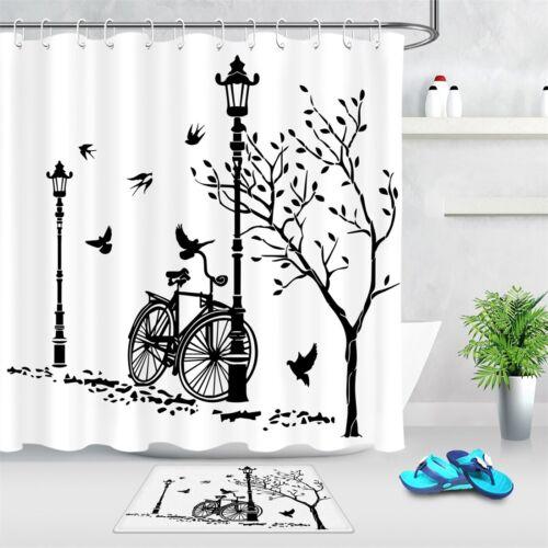 "Sketch Street Lights Bicycle Birds Fabric Shower Curtain Set Bathroom Decor 72/"""