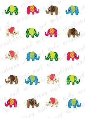 20 Nail Decals * COLORFUL RETRO ELEPHANTS ASSORT * Water Slide Nail  Decals