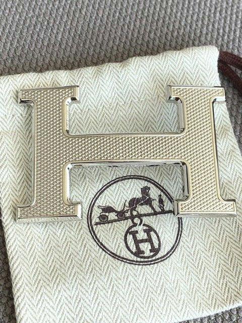 38MM Hermès Belt Buckle Silver Guilloche Original Merchandise Belt Buckle