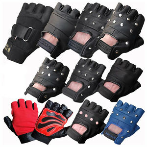 LEATHER-FINGERLESS-GLOVES-BIKERS-GYM-DRIVING-CYCLING-WHEELCHAIR-USERS-PAINTBALL