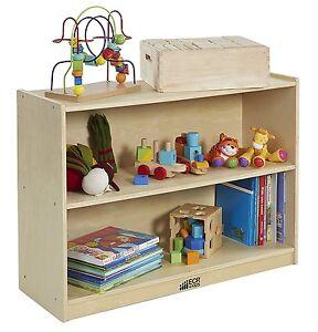 Birch Storage Cabinet 2 Shelf W Back Daycare Preschool Wood Display