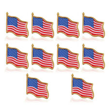 10PCS American waving Flag Lapel Pin United States USA Tack Badge Patriotic US