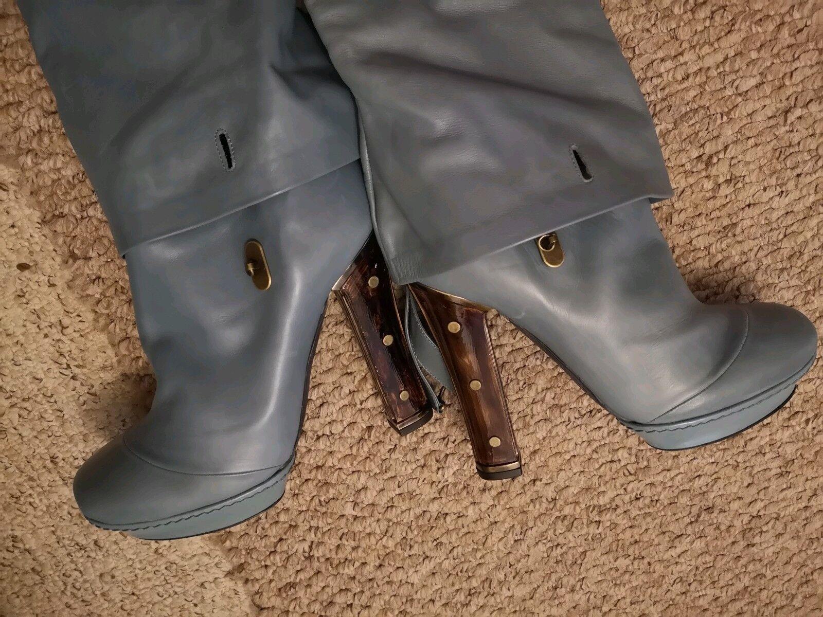 Raro @ Dior John Galliano Azul Claro (gris) Slouchy 39.5 Concha botas 39.5 Slouchy 6.5 5728e1