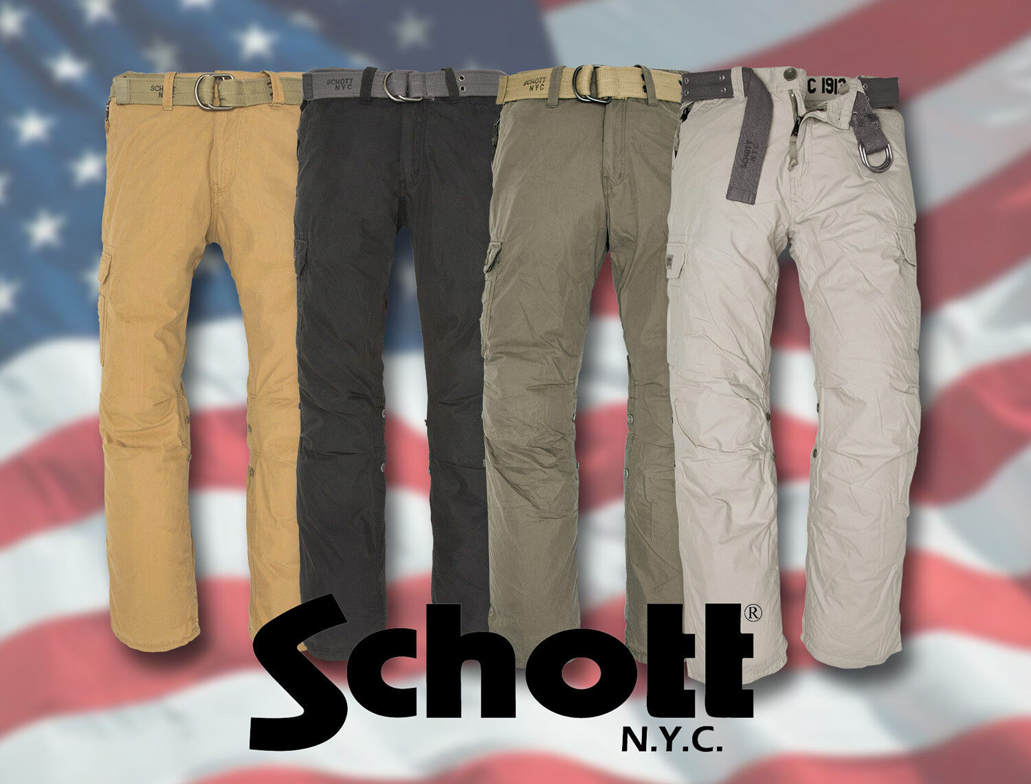 SCHOTT NYC CARGO PANTS USA COMBAT TROUSERS [71005]