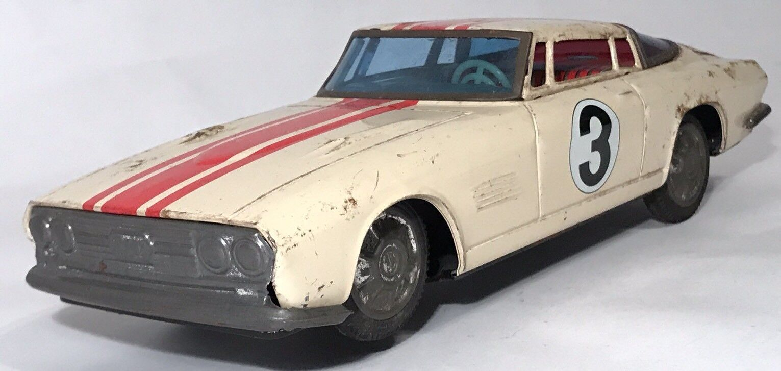 Taiyo 1965 Mustang Coupe GT  3 Grand Touring Tin Friction Vintage Rare Bertone