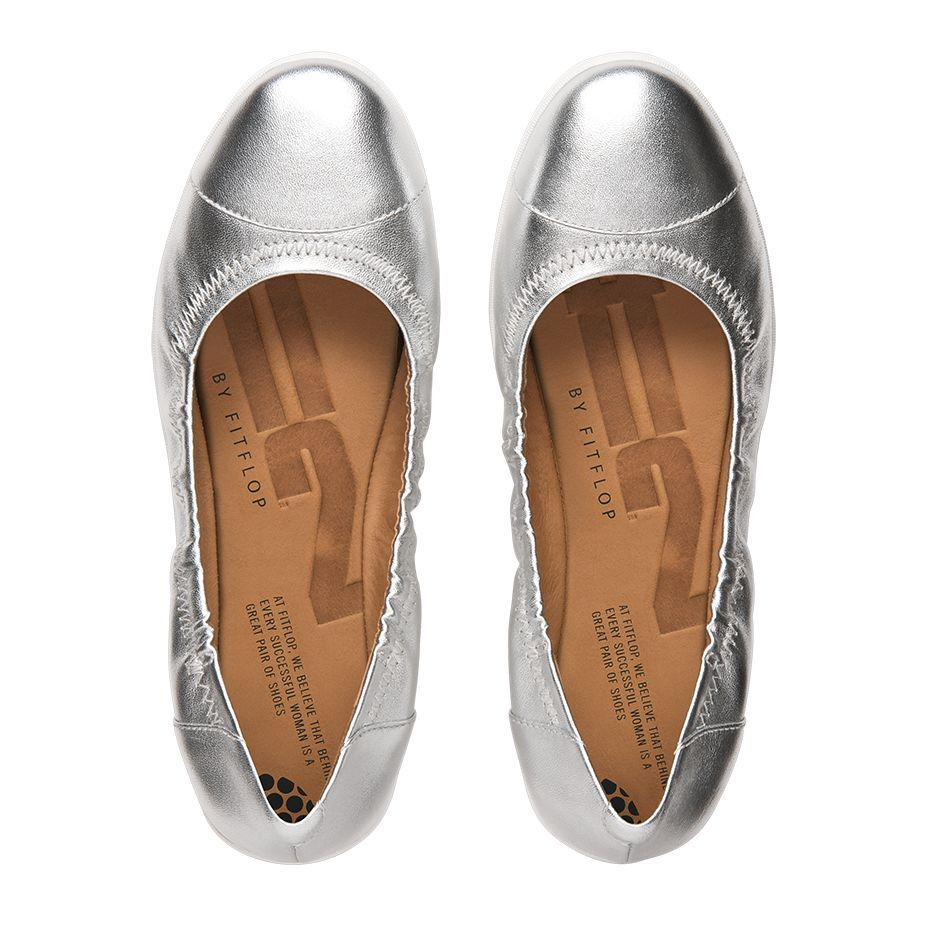 FF2TM BY FitFlop™ F-POP SILVER LEATHER BALLERINA PUMPS Schuhe UK 4.5 37.5