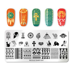 NICOLE-DIARY-Nail-Stamping-Plates-Stainless-Steel-Ancient-Egypt-Art-Stencils-047