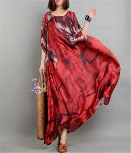 Women-100-Silk-Boho-Sexy-Long-Maxi-Floral-Swing-Dress-Roll-Up-Sleeve-Dress-Maxi