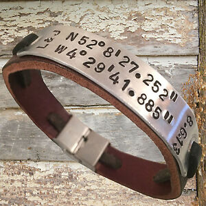 Image Is Loading Personalized Leather Bracelet Personalised Engraved Mens Jewellery