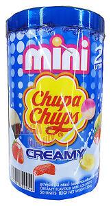 50-x-Mini-Chupa-Chups-Lollipops-Blue-CREAMY-Assorted-with-Plastic-Can-300g