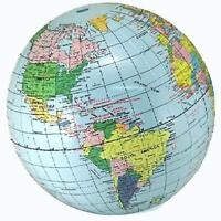 12 Inflatable 12 Inch Blue World Globe Inflate Earth Ball Sphere Novelty Map