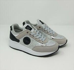 Dettagli su COLMAR TRAVIS PUNK Sneakers donna argento metel nero scarpe da ginnastica silver