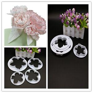 4x Peony Petals Pattern Flower Sugar Fondant Mold Cookie Cutter Cakes Decor OQ