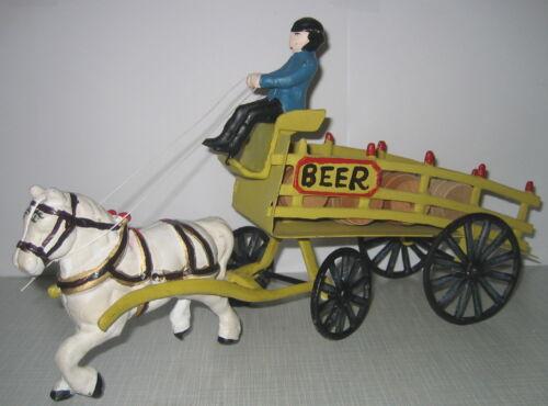 Beer Wagon Bier Kutsche Pferdekutsche Perdekarren Gusseisen Antik-Stil 35cm