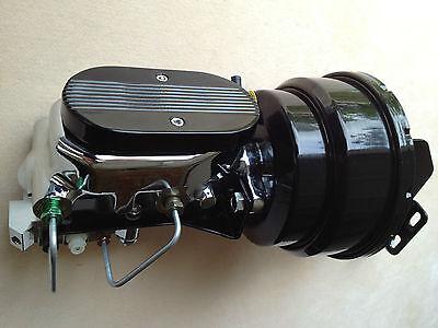 """Mopar 7"""" powder coated brake booster & black finned top master cylinder w/valve"""