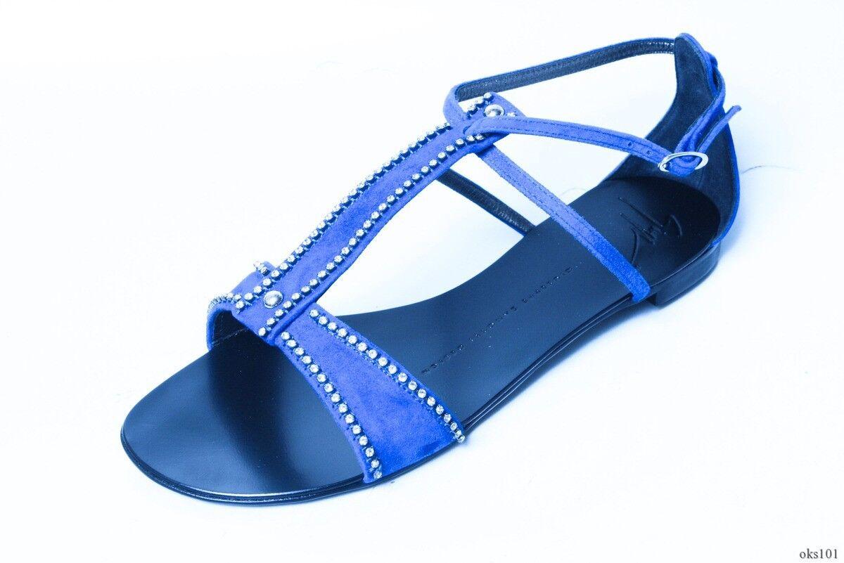 new $695 ZANOTTI Giuseppe ZANOTTI $695 blue suede JEWELED T-strap sandal flats shoes fabulous 68b1a2