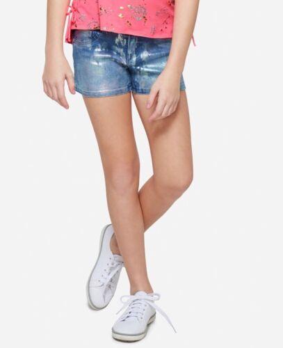 Nwt Justice Girls Size 14 Slim Foiltone Denim Shorts
