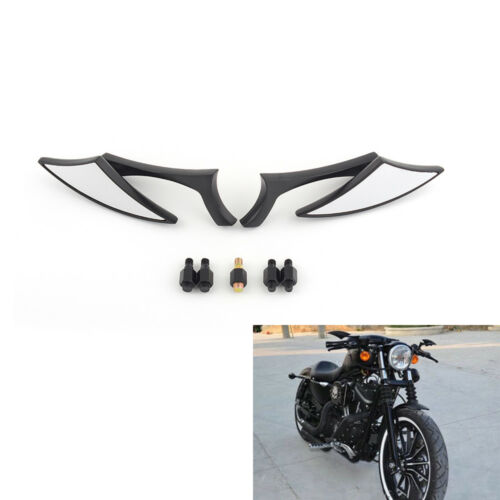 Motorcycle Cruiser Chopper BLACK Blade Steady CNC Rearview Side Mirrors 8-10MM e