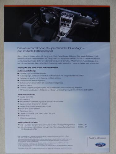 Ford Focus Cabrio Blue Magic Editionsmodell Prospekt Brochure 06.2008