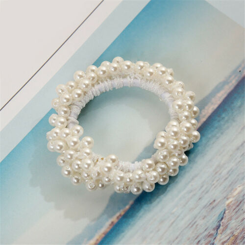 Fashion Scrunchie Ponytail Holder Women Faux Pearl Beads Elastic Hair Band Rope