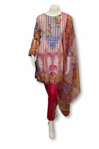 A27 Pakistani Indian Fine Design 3 Pcs Embroidered  Lawn Suit