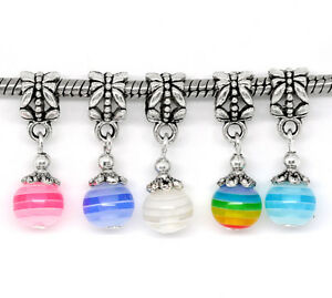 100-Mixed-Resin-Dangle-Beads-Fit-Charm-Bracelet-25x8mm