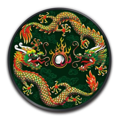 2019 1 oz Australian Silver Burning Double Dragon Green Ruthenium Coin Box /& COA
