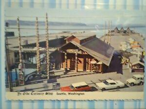 VINTAGE-POST-CARD-AERIAL-VIEW-YE-OLD-039-E-CURIOSITY-SHOP-SEATTLE-WASHINGTON