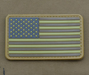 PVC-Rubber-Patch-034-Subdued-American-USA-Flag-Brown-034-With-Velcro-Brand-Gancho