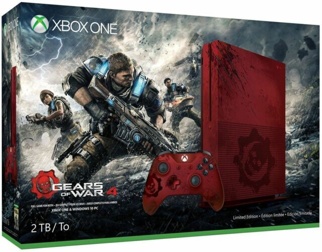 Xbox One S 2TB Console-Gears of War Red 4 Limited Edition Game Bundle Latest