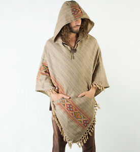 Handmade-Poncho-with-Large-Hood-Brown-YAK-Cashmere-Wool-Earthy-Tribal-Pattern