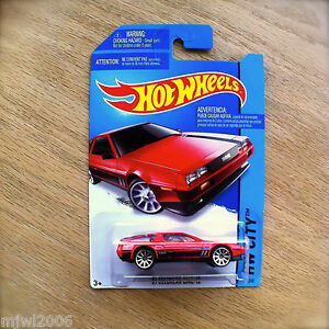 2014-Hot-Wheels-039-81-DELOREAN-DMC-12-33-250-HW-CITY-diecast-Mattel-RED-PAINT-JOB