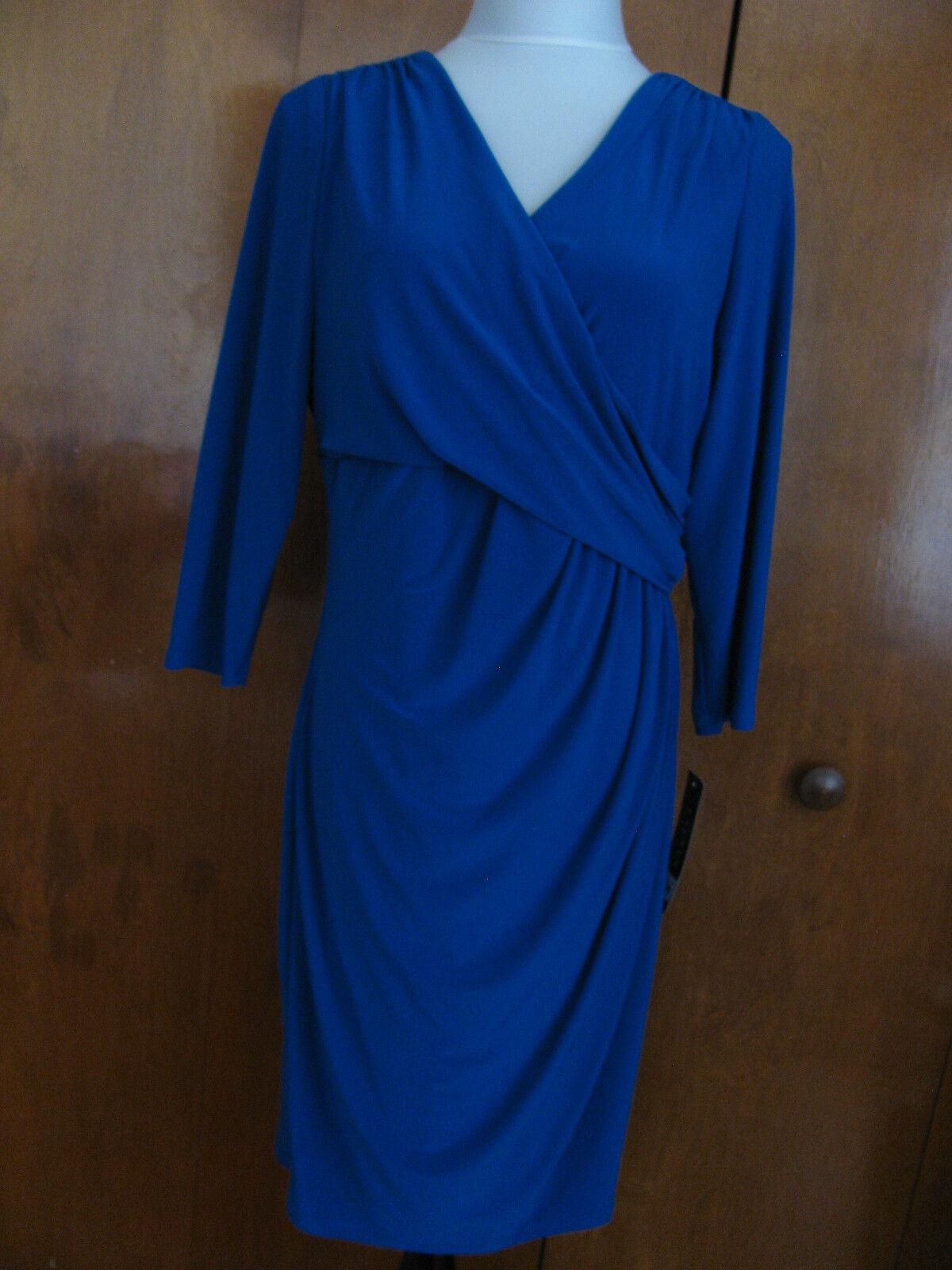 Ralph Lauren Woherren Capri Blau Faux Wrap Evening Gatherot Dress 2P 4P 14P 16P