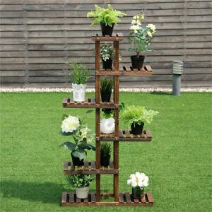 Bamboo-Wooden-Plant-Stand-Flower-Pot-Shelf-Indoor-Outdoor-Planter-Multi-Tiers-US