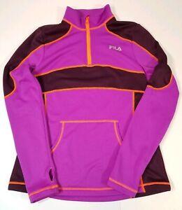 Details about FILA SPORT Thermal Purple & Orange Quarter Zip Sweatshirt Women's M
