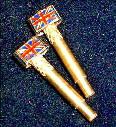 Cribbage Pegs, 2-Flags of Great Briton, Brass Metal, Free Velvet Pouch ,USA  a