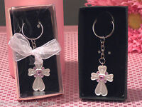 30 White Cross Keychain Pink Crystals Baptismal Communion Religous Favors