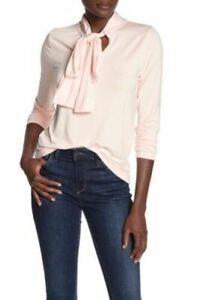 J Crew Long Sleeve Tie Neck Knit Top Blouse Pink Size XL NWOT