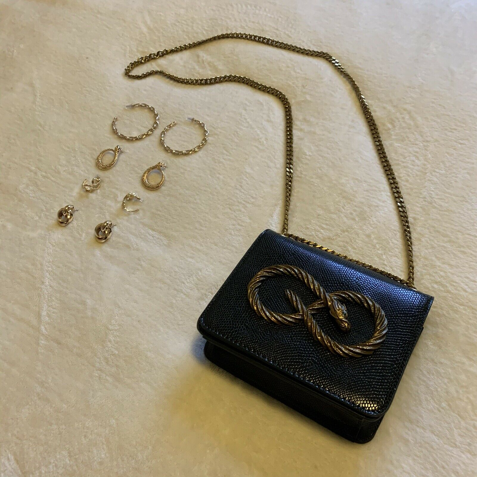 ASOS Snake & Chain Accessories Bundle: Black & Gold Bag & 4x Pairs Of Earrings