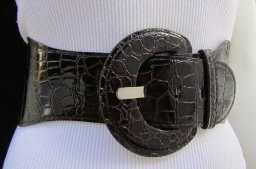 Women Brown Wide Elastic Waistband Faux Leather Fashion Belt Hip Waist XS S M