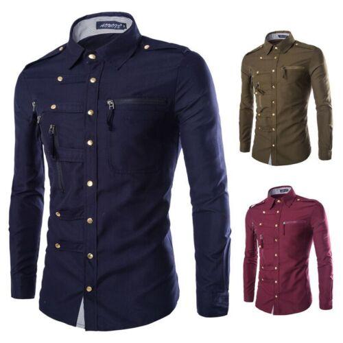 Hot Fashion Homme Luxe Élégant Robe Décontractée Slim Fit T-shirt casual manches longues