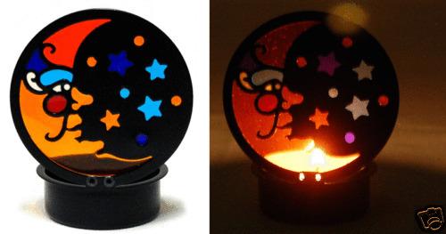 69026 Mini Black Moon Stars Metal Tealight Candle Holder Celestial Night Space