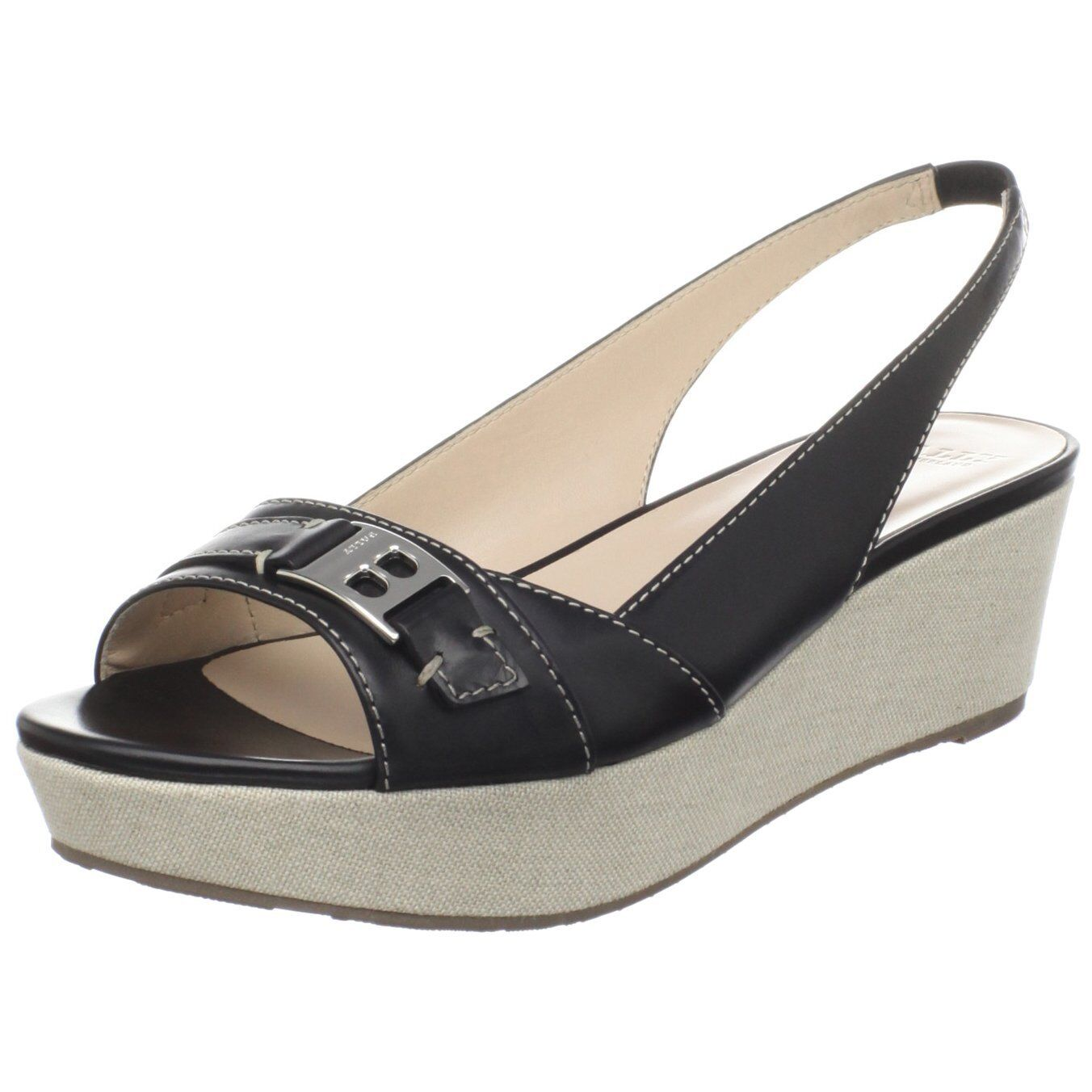 NEW BOX BALLY US 5.5 EUR 36 Leather Open-Toe Wedge Slingblack Sandals shoes